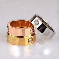 La vendita calda di titanio di amore anelli per gli uomini donne coppie gioielli Cubic Zirconia Fedi Logo Bague Femme 4mm con box