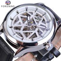 Forsingiance 2021 Royal роскошный дизайн мужские серебряные шестерни движения прозрачная звезда поверхность открытой работы скелет механические наручные часы