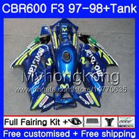 + Tank voor Honda CBR600FS CBR600RR MOVISTAR BLUE HOT CBR600 F3 1997 1998 BODYS 290HM.76 CBR 600 F3 FS CBR 600F3 97 98 CBR6F3 97 98 FACKING