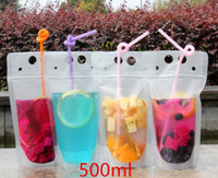 150pcs Clear Drink Pouches Bottle frosted Zipper Stand- up Pl...