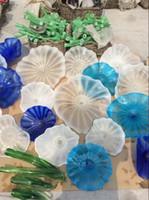 Murano Flower Glass Подвесные Пластины Wall Art Высокого Качества Бесплатная Доставка Синий и Белый Выдувное Стекло Огни