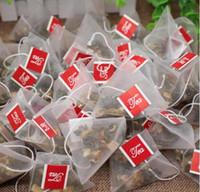 3000pcs / lot pirámide bolsa de té filtros de nylon bolsa de té de Cuerda Con etiqueta transparente bolsitas de té vacíos