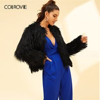 COLROVIE Black Hook Eye Closure Shaggy Winter Faux Pelzmantel Frauen Jacke 2019 Mode Warme Elegante Party Damen Oberbekleidung
