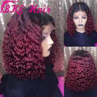 Ombre красный / Светлый цвет бразильские вьющиеся волосы парика боковой части bobLace передний парик для женщин синтетические короткие завитые парик Preplucked с волосами младенца