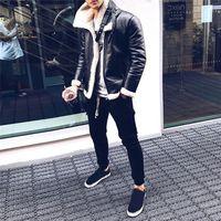 Kış Erkek Giyim Moda Tasarımcısı Palto Kürk Yün Kalın Sıcak Balıkçı Yaka Deri Kaşmir Moda Ceketler Giyim