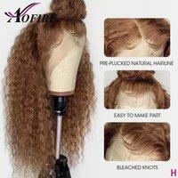 Медовая блондинка коричневый 13x6 кружева фронт вьющиеся парики человеческие бразильские волосы Реми 360 кружева фронтальные для чернокожих женщин предварительно сорвал 130Density