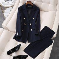 2020 Новые Элегантные Офисные Офисные Одежда Друждающие Костюмы 2 Часть Наборы Двухбордовые Блейзер Куртка Брюки Для Женщин Комплект S-5XL