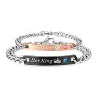 Mode ihr König und seine Königin paar Armbänder für Frauen Männer ihr Tier seine Schönheit personalisierte Armreif 2019 Schmuck Geschenk