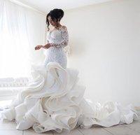 NOUVEAU Taille Taille Robes de mariée Mermaid Nouvelle dentelle d'arrivée à manches longues Muslim Vestido de Noiva Appliques Romantiques Ruffles Robes de mariée