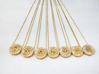 Novo design de jóias cor de ouro micro pavimentar Cubic Zircon CZ cristal de letra do alfabeto pingentes colar NK429