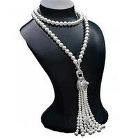 Envío Gratis Venta caliente 7-8mm agua dulce cabeza de leopardo collar de perlas naturales