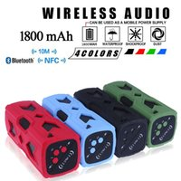 Waterproof Bluetooth Speaker NFC 1800mAh Power Bank Shockpro...