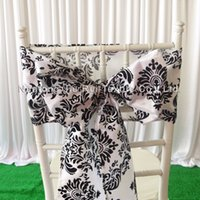 8 '' * 108 '' vit svart flockning taffeta stol sash / taffeta stol båge 100st med gratis frakt för bröllopsdekoration användning