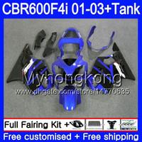 Body + Tank for HONDA CBR 600F4i CBR600FS CBR600F4i 01 02 03 286HM.59 CBR600 F4i 600 FS CBR 600 F4i 2001 2002 2003 Fairings Stock blue blk