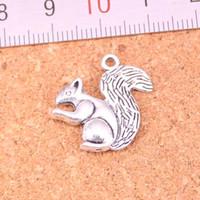 56 sztuk Charms Dwustronna Wiewiórka Antyczne Posrebrzane Wisiorki Dokonywanie DIY Handmade Tybetańska Biżuteria Silver 21 * 21mm