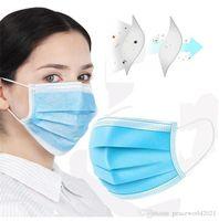 Jumbl Masques jetables Bleu Visage de protection 3-Ply respirant nez confortable / bouche pour Bureau Revêtements   Oreille élastique boucle 3-couche