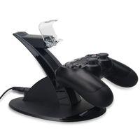 Hot LED duplo Charger Doca Mount suporte de carga USB para PlayStation 4 PS4 Joystick Gaming Wireless Controller Com Retail Box grátis