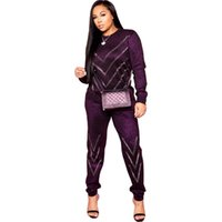 Spring Winter Sequined 2 Piece Set O- Neck Women Tracksuits H...