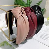 Yeni PU High End Kafa Düğümlü Geniş Kenar Moda Saç Aksesuarları Firkete Lady Saç Hoop 5 Renk Toptan
