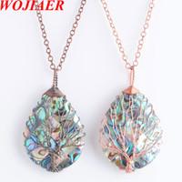 Wojiaer arbre de vie wrap wrap goutte d'eau goutte perle collier pendentif alerte naturel shell bijoux chaîne 18inches DBN814