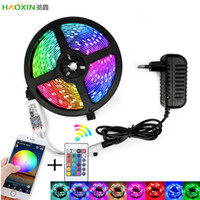 Haoxin RGB LED Strip luz SMD 2835 5M RGB Waterproof Tape Ribbon DC12V diodo LED tiras de luz flexível listra lâmpada IR WIFI Controlador
