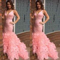 Pink Organza Ruffles sirena vestidos de baile 2019 Sexy cuello en V profundo vestidos de noche baratos cócteles vestidos de fiesta formal