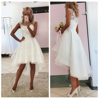 Mode-Scoop A-line Hochzeitsempfangskleid Weiß / Elfenbein Hi-Lo-Hochzeitskleider kurze Front-lange zurück-Brautkleid