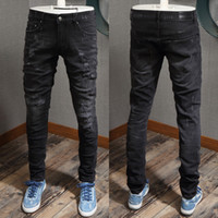 Fashion Design Distressed RIP Vintage Black Stretch Jeans Jeans Jeans Skinny Fit Gamba Pantaloni per uomo