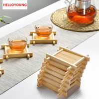 Alta qualidade Natural 1pc 100% de madeira de bambu Bandejas For Tea Bandejas 7 centímetros * 7cm criativa Chinese Word Jing Côncavo Copa Mat