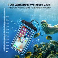 effetto IPX8 universale fluorescente Impermeabile a prova di caso per il sacchetto di acqua sacchetto del telefono mobile doppio interruttore design Strong prova dell'acqua
