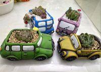 Rétro Creative Car Flower Pot Mini Jardin Planters Jardin Succulent Planteur Bureau Plante Pot de fleurs Cactus Pot Plante Bureau Décoration
