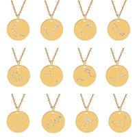 ابراج البروج قلادة قلادة للنساء كريستال القوطية مجوهرات الذهب 12 الأبراج بيان القلائد جولة عملة سحر قلادة الهدايا