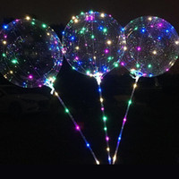 Bobo Balloon LED Clignotant avec 70cm Pole 3M String Balloon Transparent Lumineux Lumineux Up Balloons Pour Brithday Wedding Home Decor