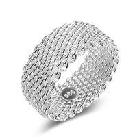 Nuovi anelli in argento sterling 925 a fascia da donna con cinturino a maglie intrecciate per gioielli femminili di fidanzamento alla rinfusa