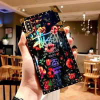 Luxury Designer Phone Case pour iPhone 11 XR Pro XS MAX 8 Samsung Galaxy S10 S10E plus Note9 note10 cas avec Blue Ray Rose Flower