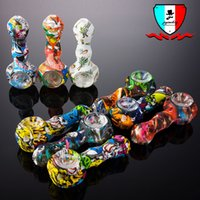 Silicone Hand pipe with glass bowl 4 inch silicone tobacco c...