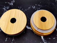 70mm / 86mm conviennent aux couvercles de maçons de maçonnerie réutilisables Caps de bambou de bambou avec trou de paille et joint en silicone pour bocaux de maçon canning poche potable