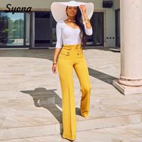 Formal ancho pierna casual pantalones oficinas dama trabajo alta cintura elegante pantalones modernos para trabajar mujer llamarada palazzo amarillo busines
