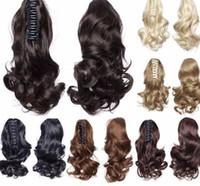 """мода 12"""" короткие волнистые расширения коготь на хвостики синтетический черный коричневый блондинка женская шиньон волос хвост"""