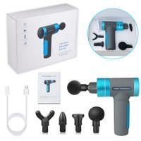 Masaje muscular Pistola USB CARGA DE USB 4 cabezas 5 Velocidad LCD Pantalla táctil Massager Terapia Pistola Ejercicio Músculo Dolor Cuerpo Relajación Gota Envío