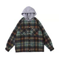 Мужские куртки Представляют Сыпучие Куртка с капюшоном шерстяного фланель клетчатой рубашки пальто ретро модой High Street Толстовки негабаритного Outwear
