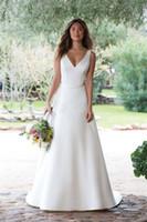 Vestidos de novia de satén Una línea de cuello en V Blanco Botón de ilusión de marfil de marfil Boda Vestidos nupciales Vestido de Noiva Corte Tren