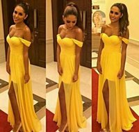 Amarelo Chiffon Prom Vestidos longos Off the Shoulder Backless Holidays Formal Wear Partido Evening graduação Pageant vestido com Dividir