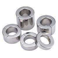El anillo del martillo de metal escroto Colgante bola Camilla Testis Peso del pene de sujeción de acero inoxidable magnético de bloqueo Traning anillo Juguetes sexuales para hombres