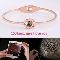 2 Colors 100 Languages I Love You Charm Bracelets Projection...