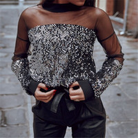Trendy Kadınlar elbise Seksi Uzun Kollu Pullu Gevşek Boyun Tişörtler bir adet yuvarlak şeffaf kazak Polyester Tops