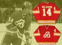 ATLANTA FLAMES Jerseys 14 Kent Nilsson 30 DANIEL BOUCHARD Red 100% costura personalizada Hockey Jerseys