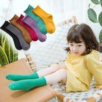 Calcetines de los niños muchachas de los bebés Sólido Algodón Medias de malla suelta la rodilla calcetines altos de otoño del resorte del color del caramelo Estrechamiento de borde de las medias de CYP670