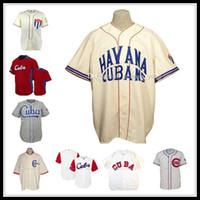 رخيصة الرجال كوبا UAA 1947 الطريق البيسبول جيرسي 1952 قمصان رياضية خمر عالية الجودة كريم رمادي أبيض أحمر كل خياطة مخيط قمصان الرياضية