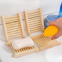 Natural de bambu Bandejas Atacado Soap prato de madeira de madeira Soap Tray Titular rack placa Box Container para o banho chuveiro casa de banho QD